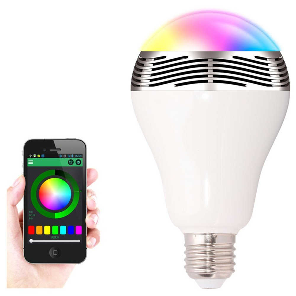 RGB LED Light Bulb Bluetooth Music Speaker - умная лампочка