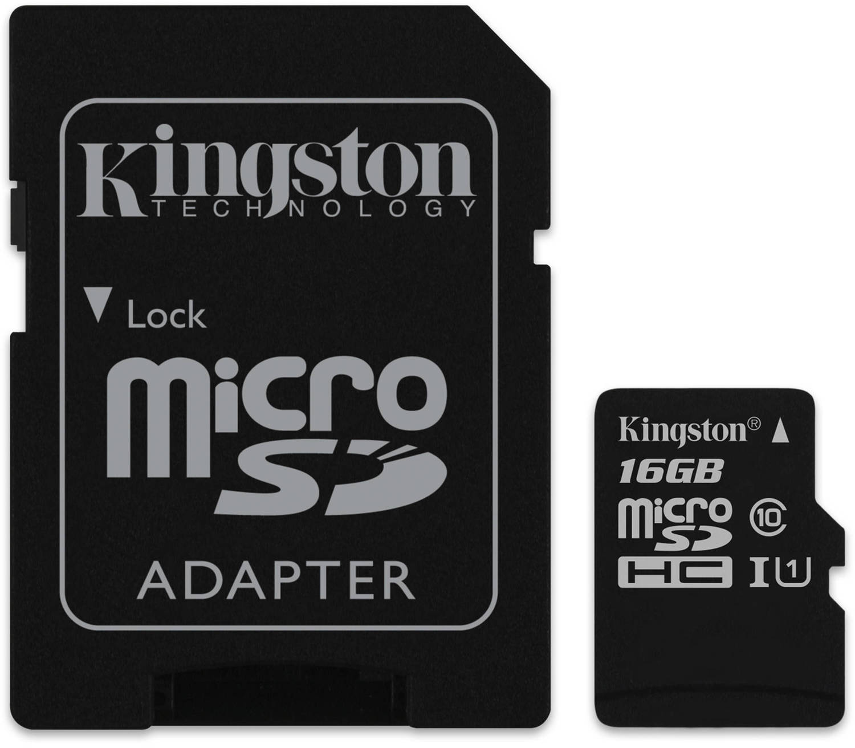 Kingston microSDXC 16Gb Class 10 U1 UHS-I (SDC10G2/16GB) - карта памяти с адаптером