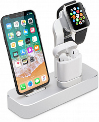 Купить Док-станция COTEetCI Base19 (CS7201-TS) для Apple Watch/iPhone/AirPods (Silver)