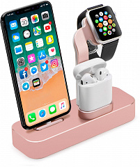 Купить Док-станция COTEetCI Base19 CS7201-MRG для Apple Watch/iPhone/AirPods (Rose Gold)
