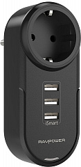 Купить Сетевая зарядка RAVPower Rotate Plug 4-in-1 Mini Surge Protector RP-PC003B (Black)