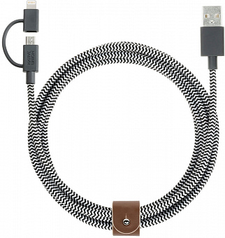Native Union Belt Cable Twin Head (BELT-UL-ZEB) - зарядный кабель Apple Lightning (Zebra)