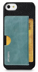 Купить Vetti Prestige Series Leather Snap Card Holder (IPO5LESCHBKLC3) - чехол для iPhone 5/5S/SE (Black/Vintage Lake Blue)