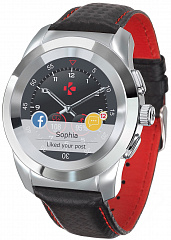 Купить Смарт-часы MyKronoz ZeTime Original Regular (Silver/Black Carbon Red Stitching)